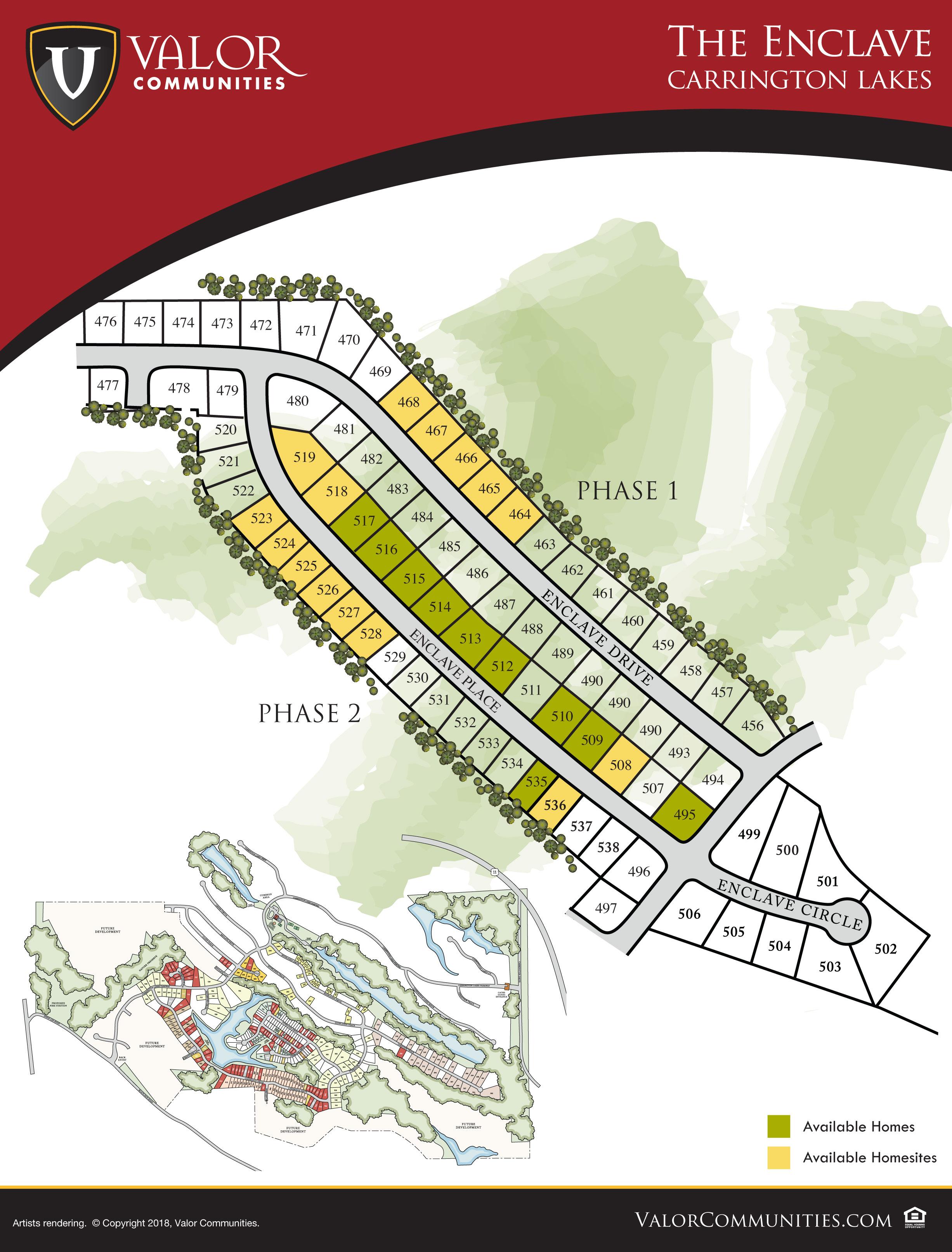 Carrington Lakes Enclave Map
